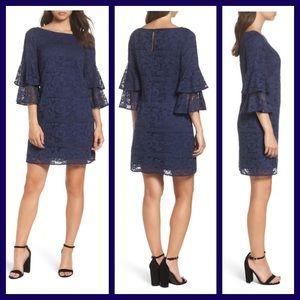 Eliza J Tiered Sleeve Lace Shift Dress (E)